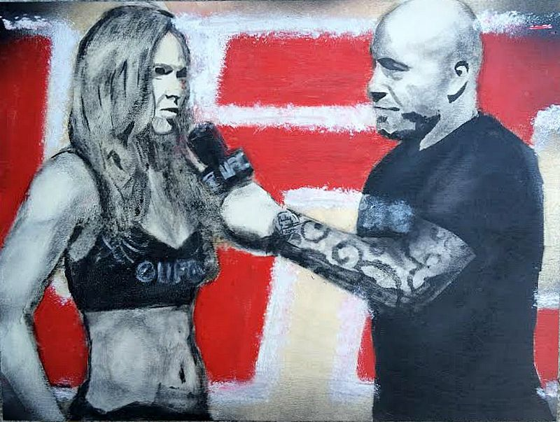 Acrylic painting Rousey & Rogan by Carly Jaye Smith