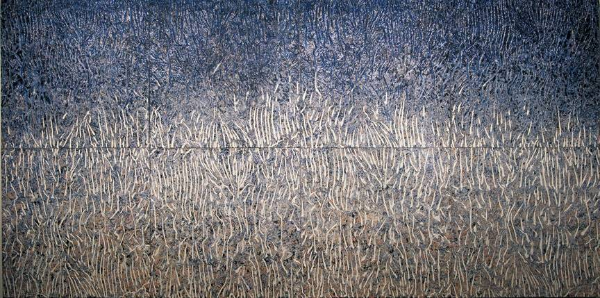 "WILDERNESS - cast cotton, acrylic, mineral pigments 72"" x 144"" 1999 by David Ferguson"