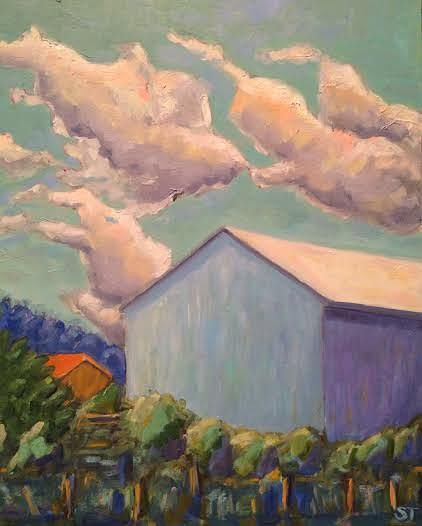 Oil painting Turquoise Barn with Clouds- SOLD by Sarah Trundle