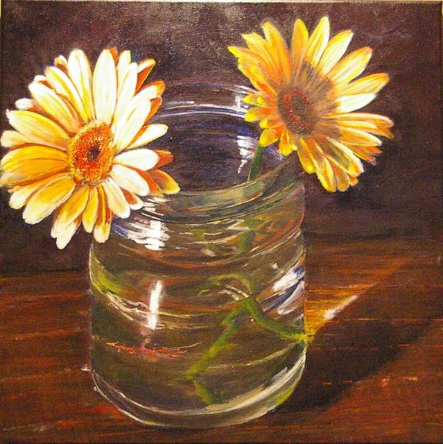 Gerberas in a Jar  by Bev Robertson