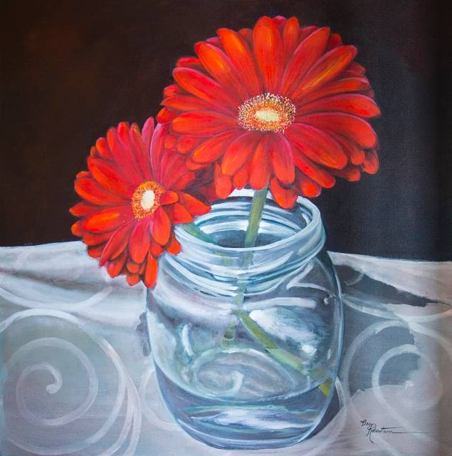 Gerberas in a Jar II  by Bev Robertson