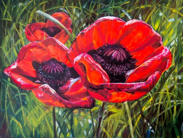 Acrylic painting Poppies in the Grass  by Bev Robertson