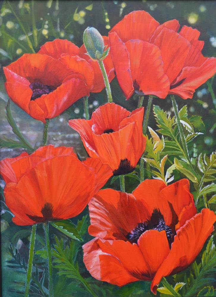 Acrylic painting Poppies in Splendor by Bev Robertson