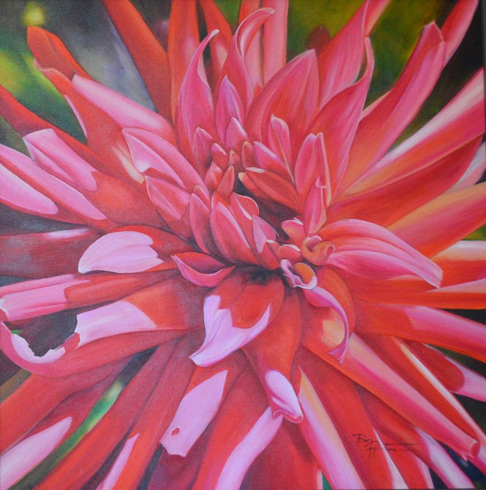Oil painting The Salsa Dance , Dahlia by Bev Robertson