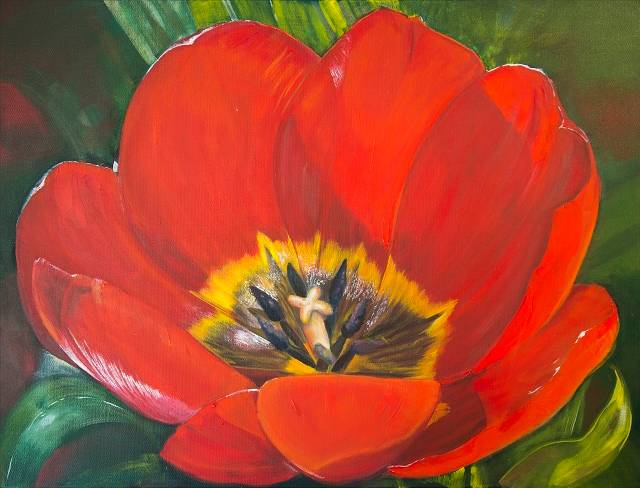 Acrylic painting Full Bloom II  by Bev Robertson