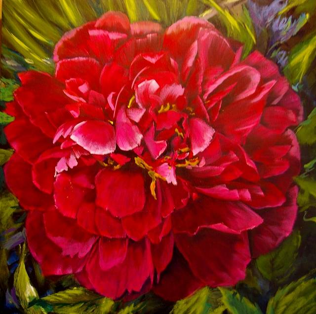 Acrylic painting Red Peony  by Bev Robertson