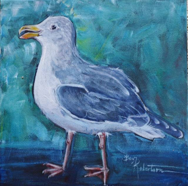 Acrylic painting Sonney Boy Seagull by Bev Robertson