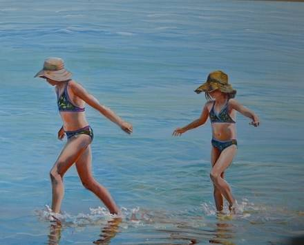Acrylic painting Sisters,          Where You Lead I Will Follow by Bev Robertson