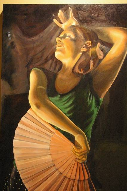 Acrylic painting Flamenco Dancer (426x640) by Bev Robertson