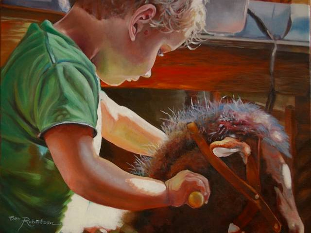 Oil painting Early Morning Ride (640x480) by Bev Robertson