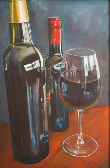 Acrylic painting Reflecting on Wine by Bev Robertson