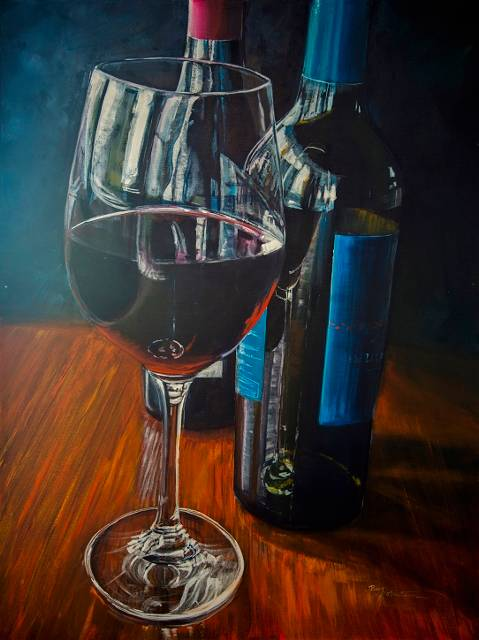 Acrylic painting Reflecting in My Glass by Bev Robertson