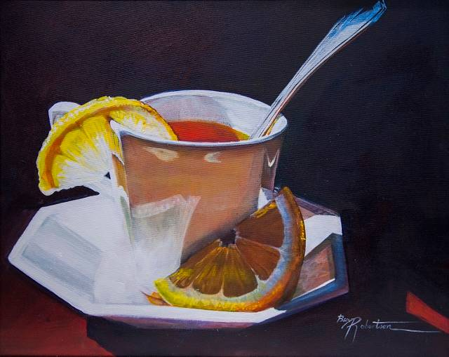 Acrylic painting Lemon Tea and Sunshine by Bev Robertson