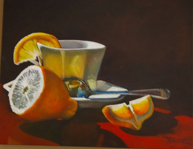 Acrylic painting Lemons,Tea and a Splash of Sunshine by Bev Robertson