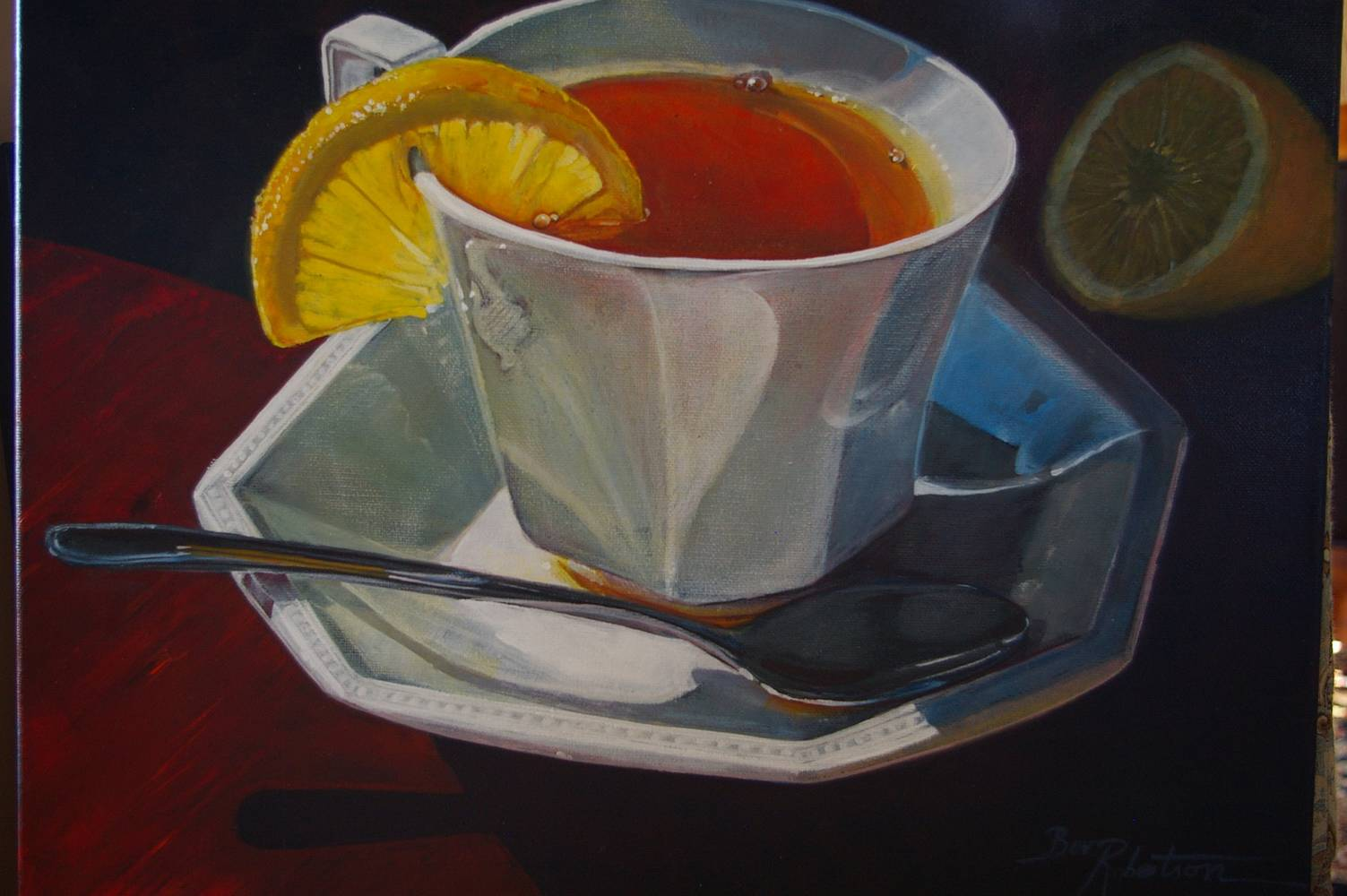 Acrylic painting Just My Cup of Tea by Bev Robertson