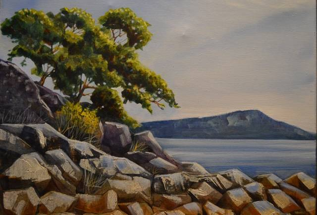 Acrylic painting Rocky Shore by Bev Robertson