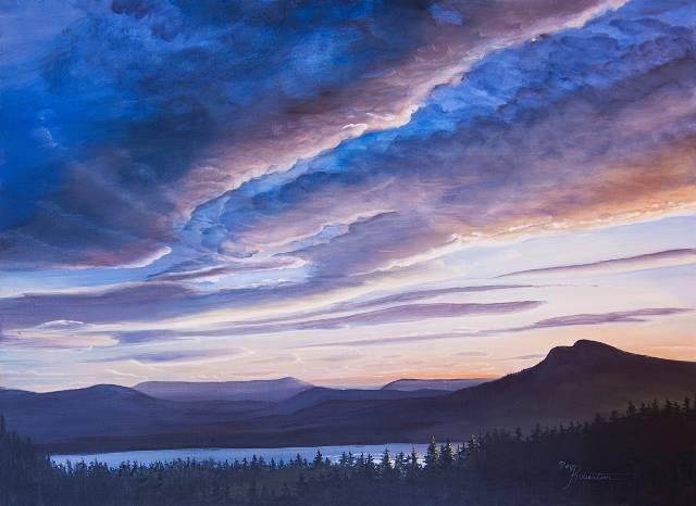 Acrylic painting Prevost Sunset by Bev Robertson