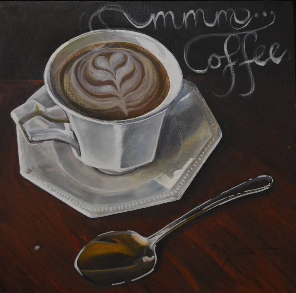 Acrylic painting MMM Coffee by Bev Robertson
