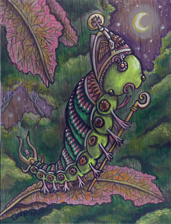 Acrylic painting *the Caterpillar Bishop by Kenneth M Ruzic