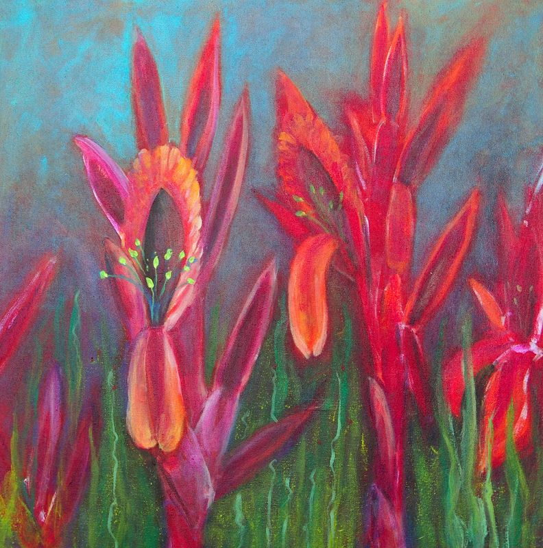Acrylic painting Blazing Blossoms by Michele Barnes