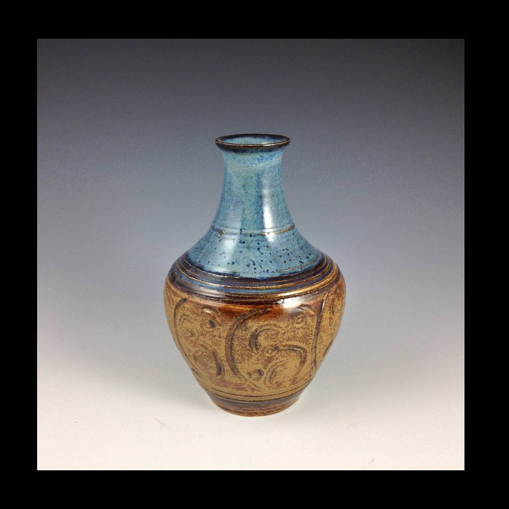 Blue carved series 6 inch vase 2014 169  by Elaine Clapper