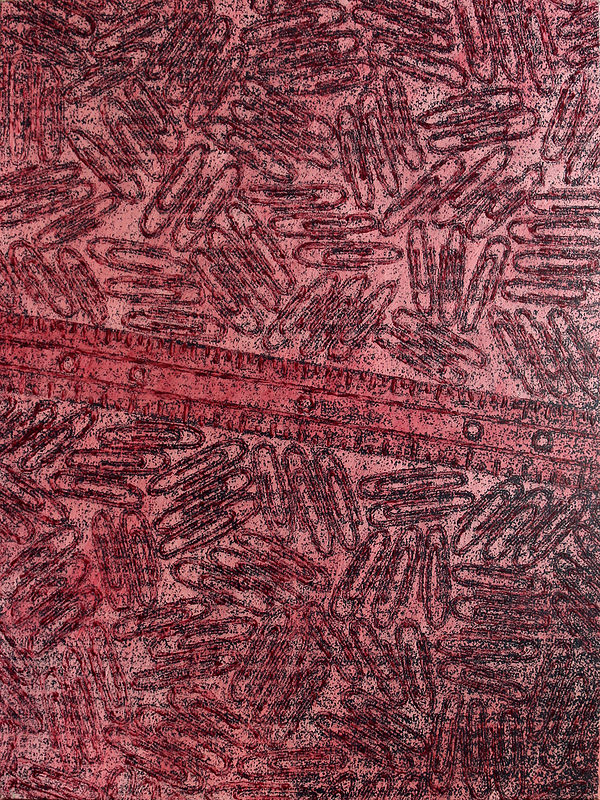 Acrylic painting CR-166 Paper Ruler in Red by John Hovig