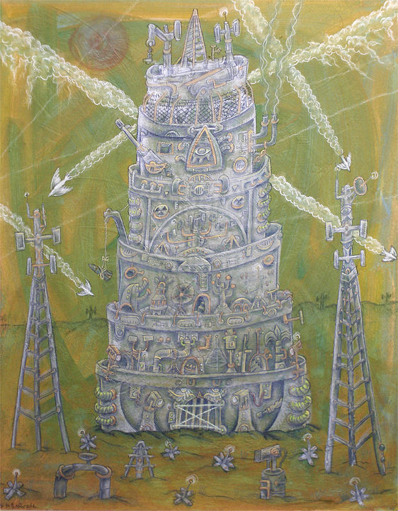Drawing Technological Tower of Babel by Kenneth M Ruzic