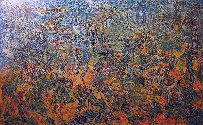 Acrylic painting the Fall of the Rebel Angels by Kenneth M Ruzic