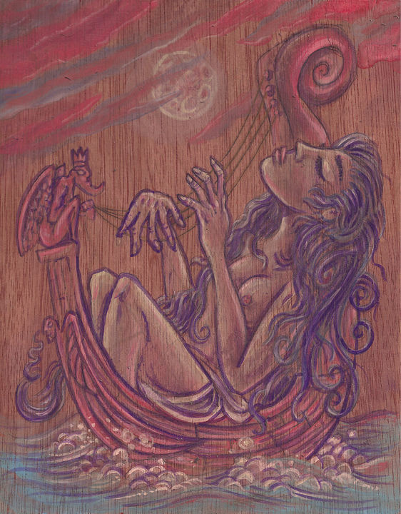 Acrylic painting Full Moon Melody by Kenneth M Ruzic