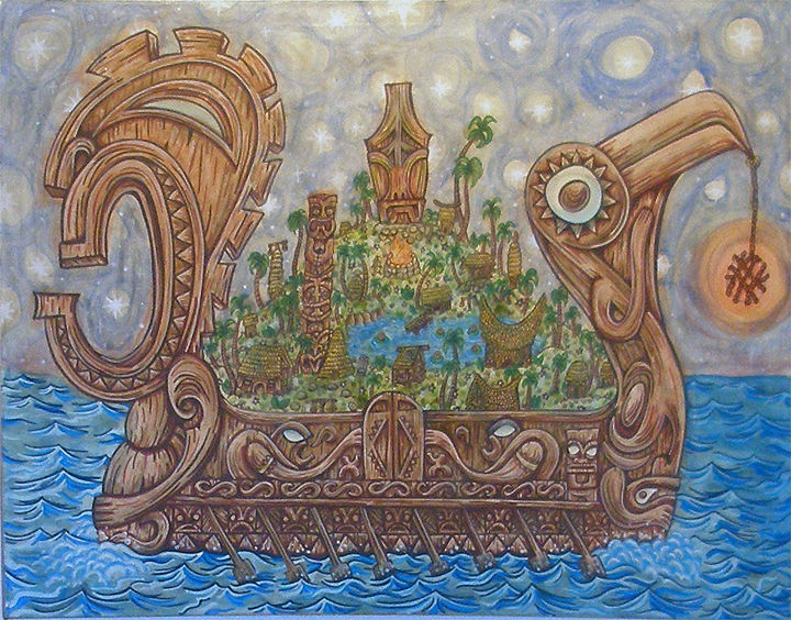 Acrylic painting the Wandering Island by Kenneth M Ruzic