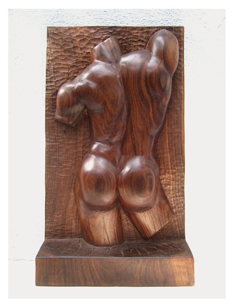 Torso in Relief, Walnut - 20 x 10 x 3 inches by Larry Scaturro