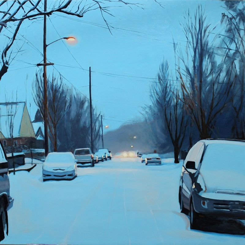 Oil painting Snow Day Morning by Shawn Demarest