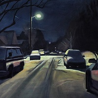 Oil painting Snow Day Evening by Shawn Demarest