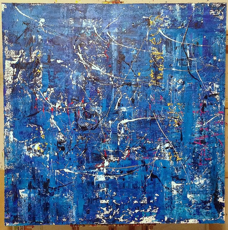 Acrylic painting blue by Jeffrey Newman