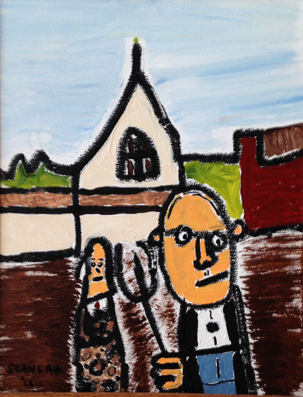 Oil painting American Gothic Redux by Bernard Scanlan