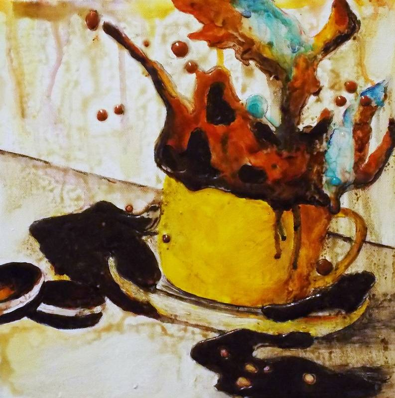 Mixed-media artwork Mocha Explosion by Angela Green