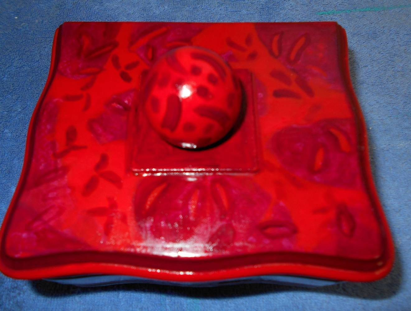 Acrylic painting TOP OF RED BOX by Georgette  Jones