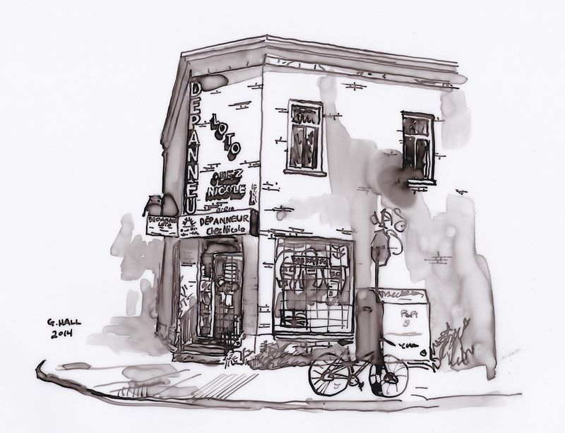 Drawing Depanneur (Chez Nicole) by Graham Hall