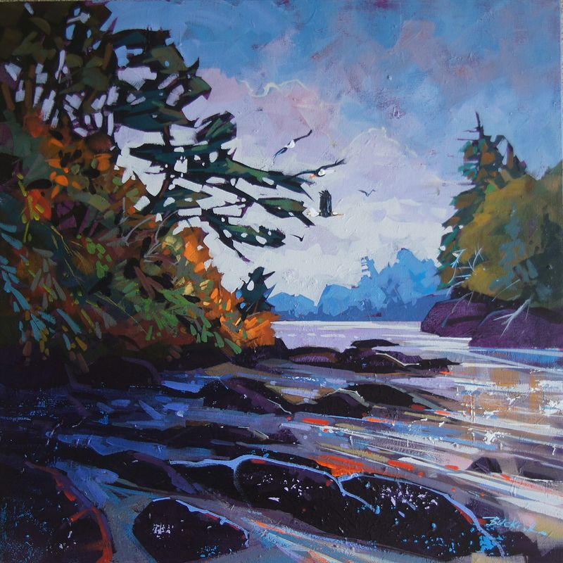 Cove Flypast  Acrylic 24x24 2014 by Brian  Buckrell