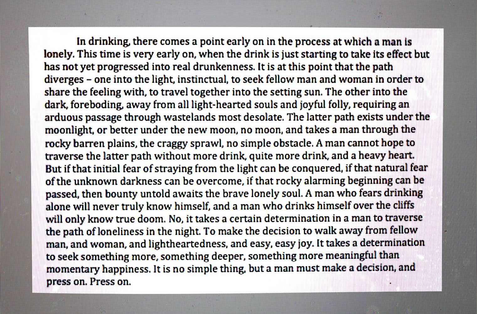 An Essay on Drinking by Evan Fowler