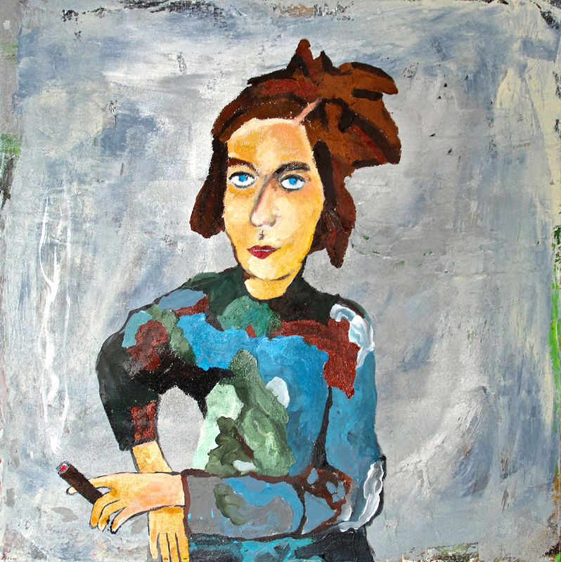 Acrylic painting Woman with a Cigar by Bernard Scanlan