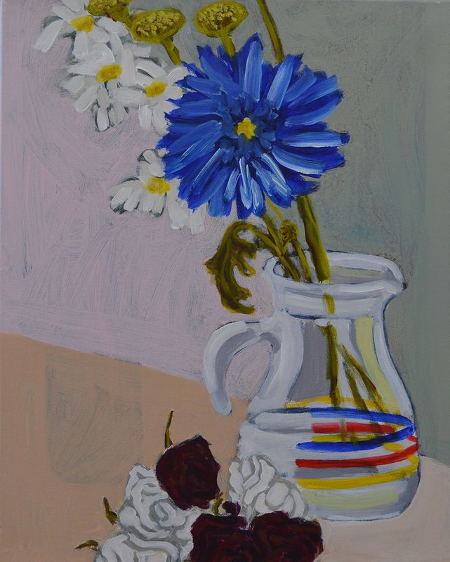 Acrylic painting Blue Flower, Dried Roses and Pitcher by Graham Hall