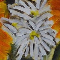 Acrylic painting Sunflowers and Daisies by Graham Hall