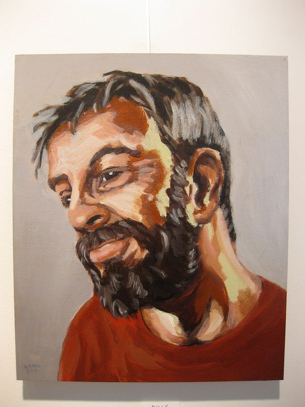 Acrylic painting Billy Mavreas by Graham Hall