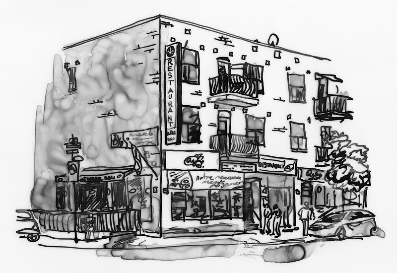 Drawing Restaurant Quebec Deli by Graham Hall