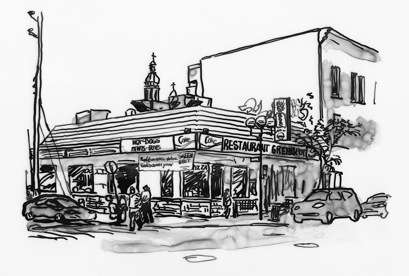Drawing Restaurant Green Spot by Graham Hall