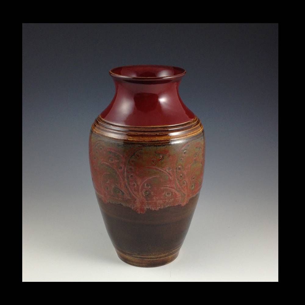 red vase by Elaine Clapper