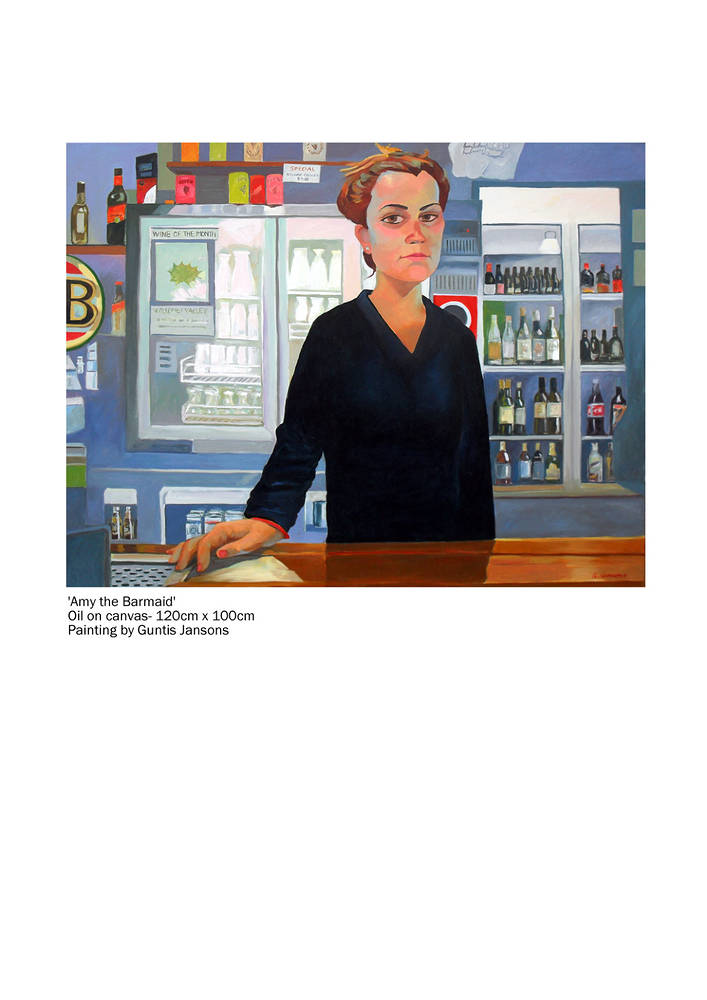 Oil painting Amy the Barmaid by Guntis Jansons