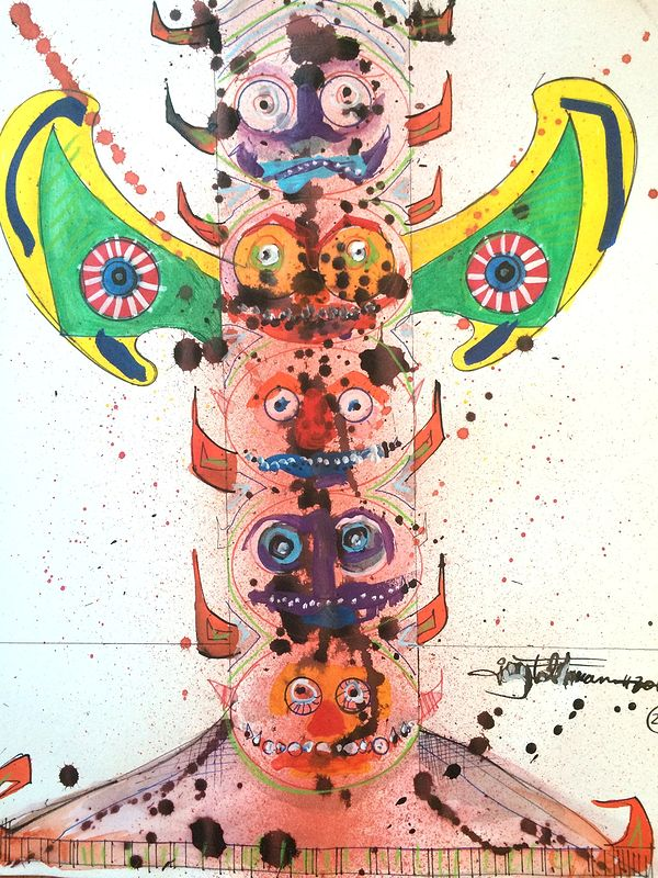 Mixed-media artwork totem1 by Joey Feldman