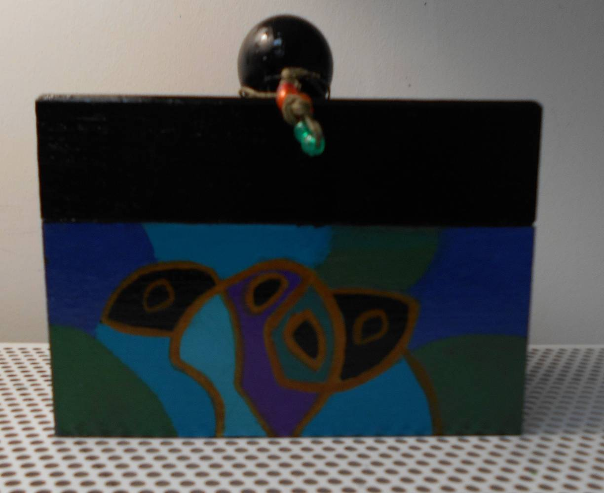 Acrylic painting FRONT VIEW OF TURQUOISE BOX by Georgette  Jones